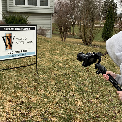 video footage being captured for Waldo State Bank